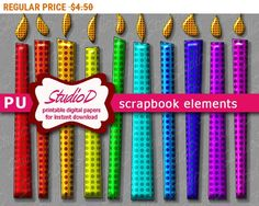SALE Rainbow colors candle clipart dotted design printable digital scrapbook elements digiscrap clipart digiital images birthday clipart by StudioDprint