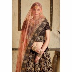Buy Stunning Navy Blue Colored Partywear Embroidered Pure Velvet Lehenga Choli at Rs. Get latest Lehengas for womens at Peachmode. Anarkali Lehenga, Pink Lehenga, Bridal Lehenga Choli, Stone Work Blouse, Bollywood Outfits, Lehenga Style, Party Wear Lehenga, Maroon Dress, Embroidered Clothes
