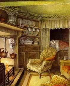 """Winter in Ratty's home"" (1908) from the childrens' book 'The Wind in the Willows' by Kenneth Grahame."