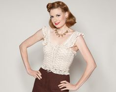 Vintage 1970s Crocheted Top #vintage #crocheted #clothing #springfashions #cream #1970s #1930s
