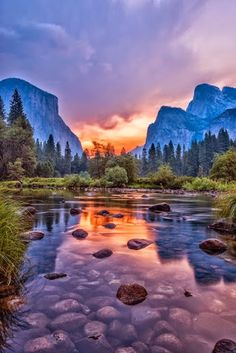 River and Mountains at sunset...