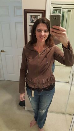 Maybe it's the jeans but this little cardigan just looked wrong to me. Not sure about the ruffles on there and my waist is so short, I think it looks off.