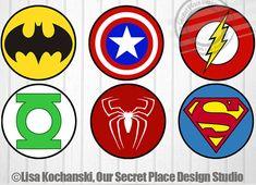 "4"" Printable Superhero Logo Stickers Superhero Symbols Superhero Stickers Superheroes Logos Superhero Baby Shower Superhero party decor"