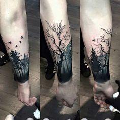 Arm tattoo, forest tattoo, tree tattoo, dark tattop, manly t Tree Sleeve Tattoo, Full Sleeve Tattoos, Tattoo Sleeve Designs, Leg Tattoos, Body Art Tattoos, Tattoo Drawings, Tattoo Tree, Tattoo Ink, Tatoos