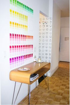 paint chips as wall art: 5 bright hues, 70 paint chips, 70 thumb tacks.