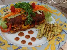 Manjus Food-Bites: Fried Cottage Cheese with Schezwan stir fried Veggies