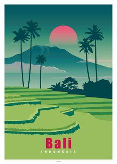 AFFICHE BALI, Indonésie - LES AFFICHISTES Indian Illustration, Art Deco Illustration, Travel Illustration, Illustrations, Green Nature Wallpaper, Art Deco Posters, Room Posters, Tourism Poster, Poster City