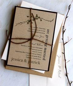 Ivory Romance - Rustic, Chic, & Elegant Wedding Invitation, Brown Twine, Kraft