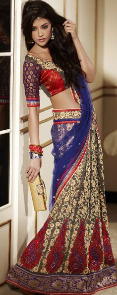 Red & royal blue half saree. Always wanted a saree like this!!!