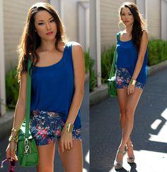 Solilor Blue Tank, Pop Couture Floral Shorts, Vivilli Green Bag, Jewel Mint Gold Cuff, Steve Madden Taupe Heels, Vivilli Pink Rimmed Sunnies