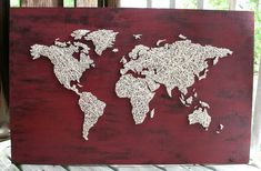 World Map String Art/ Barn Red World Map by DistantRealms on Etsy