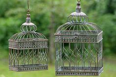 Dekorativní klec ve dvou velikostech, pro živou nebo suchou květinu, či na umístění starého budíku, jako originální dekorace :)
