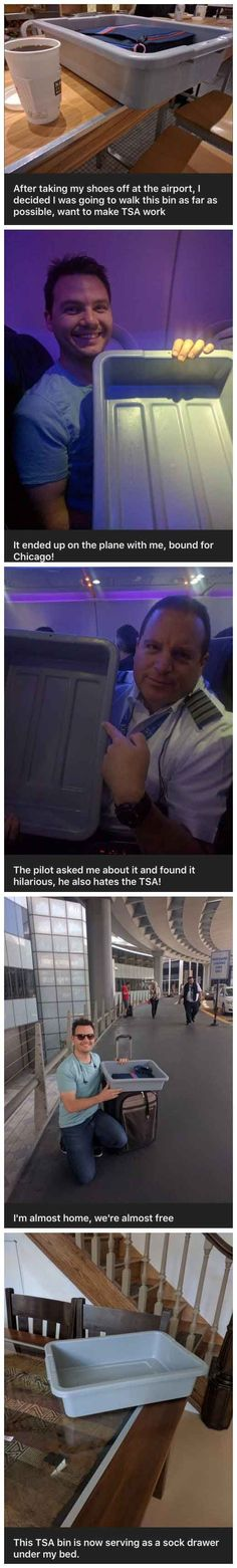 The traveling adventures of a TSA bin