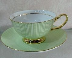 Beautiful soft green teacup set. There's something so calming about a lovely teacup.