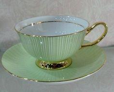 Beautiful soft green teacup set ...♥♥...