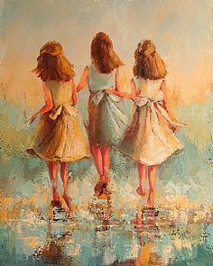 Three's Company by Angela Nesbit Oil ~ 30 x 24