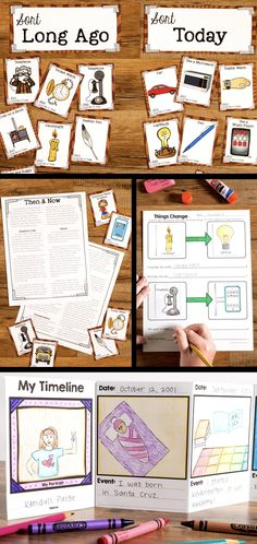 This Long Ago & Now Unit is a great part of your classroom social studies curriculum. It helps students understand how their lives relate to things and events long ago. Includes: compare and contrast artifacts long ago & today, a nonfiction article, family tree, grandparent interview, a timeline, and reading comprehension activities. #socialstudies #readingcomprehension #worksheet #compareandcontrast #timeline #elementarysocialstudies #longagoandnow #whatihavelearnedteaching Social Studies Curriculum, Kindergarten Social Studies, Social Studies Notebook, 5th Grade Social Studies, Social Studies Classroom, Social Studies Activities, Teaching Social Studies, Elementary Social Studies, Social Studies For Kids