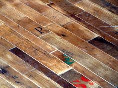 """Reclaimed Oak Wine Barrel Flooring.  This is called """"Cooperage"""".  This floor uses the wood from the barrel head with all of its patina, cooper's stamps and special markings. @ReclaimedDW    #floor #cooperage #oakfloor #reclaimedfloor #winebarrel #woodfloor #oldwood #reclaimedwood #reclaimedwoodfloor #oakfloor #coolfloor"""