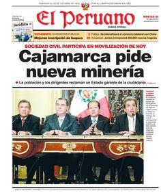 """MIENTRAS TANTOp...en una realidad paralela, la TAPA del diario oficialista """"El peruano"""" sobre Cajamarca¡!..."""