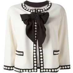 Moschino bow jacket (1,986,840 KRW) ❤ liked on Polyvore featuring outerwear, jackets, tops, blazer, coats, 3/4 sleeve white blazer, embellished jacket, moschino, 3/4 sleeve blazer and three quarter sleeve blazer