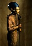 Statue of Ptah, gilded wood, Faience, glass, 18th dynasty, New Kingdom, for the tomb of Tutankhamun, Thebes, Valley of the Kings, KV62, Tutankhamun and the Golden Age of the Pharaohs, p 204, artifact, Egyptian Museum, Cairo