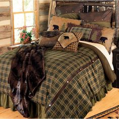 Alpine Bear Bedding Collection ~   Bear and pine tree appliqués, antique gold rivets and fringe add a rustic touch to the appealing olive green, faded blue and chocolate plaid microsuede Alpine Bear Bed Set.
