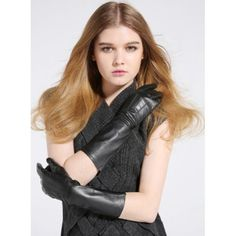 Gants longs en cuir noir style classique