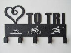 Love (Heart) to Tri Medal Display, 5 Hook, Black