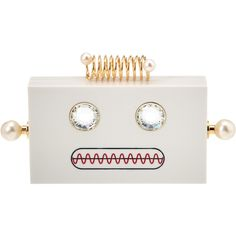 Charlotte Olympia Roby Robot Perspex Box Clutch (¥55,120) ❤ liked on Polyvore featuring bags, handbags, clutches, white, jewel purse, embellished purse, kisslock handbags, white handbag and lucite purse