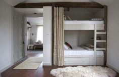 Every Single Awesome Bunk Room Featured on Lonny: Rustic finishes and simple construction give this Jersey Ice Cream Co.-designed bunk room a serene farmhouse vibe. Blueberry Home, Camden House, Bunk Beds Built In, Bunk Rooms, Bedrooms, Built In Furniture, Daughters Room, Kid Beds, Built Ins