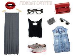 Match Our MAXI STRIPE SKIRT with a DENIM studded vest, Textured silver bracelet, Diamond Silver bracelet, Black Cropped Bow Top @shopnaif    Pair them with a Cambridge Satchel from Company Red Leather Handbag,  Mini Oxfords By DV By Dolce Vita (shoes), and Nerd Glasses for an intellectual MONDAY look ;)
