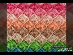 Punto abanico encajado, en crochet - paso a paso - YouTube