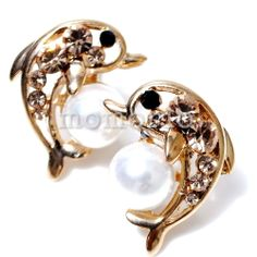 Ocean sea animal dolphin love big pearl ball studs crystal earrings-Champagne