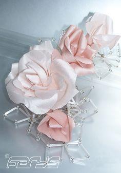 Wedding Hair Accessories. Handmade rose silk in different shades.