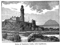 TURNBERRY CASTLE is probably the oldest building in Carrick, and dates back as far as the twelfth century. It was the seat of the ancient Earls of Carrick, one of whom founded the Abbey of Crossraguel, and another of whom became King of Scotland.  It was the home of his mother. The fact, too, that Bruce made the seizure of Turnberry the first step in that grand series of efforts which ended with Bannockburn, points to his early connection with it.  Bruce was born 21st March, 1274.