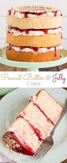 Peanut butter cake layers and frosting paired with your favourite jam. This Peanut Butter & Jelly Cake is a childhood flashback in the best way possible!   http://livforcake.com