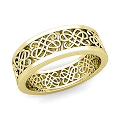 Celtic Heart Knot Wedding Band in 14k Gold Comfort Fit Ring, 7mm