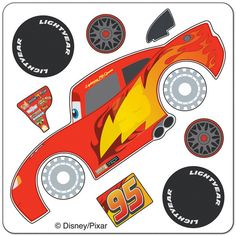 Disney Cars Lightning McQueen Make-Your-Own Favor Stickers Disney Cars Party, Disney Cars Birthday, Cars Birthday Parties, Boy Birthday, Cake Birthday, Disney Diy, Disney Pixar, Gateau Flash Mcqueen, Piñata Cars