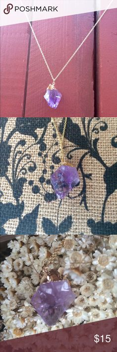 """Amethyst Crystal pendant 26"""" chain Gold issued 26"""" chain with clasp. Amethyst Crystal glass pendant. Unknown if it's a real Crystal or imitation. Got it off etsy. Jewelry Necklaces"""