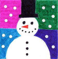 Abstract Snowman | Art Projects for Kids. Made with markers, and white circles from a hole punch. PDF tutorial available. #artprojectsforkids #snowman