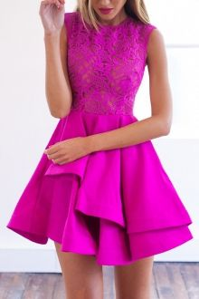 Solid Color Flounce See-Through Sleeveless Dress