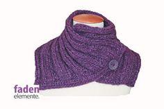 Gestricker Kragen lila Knopfschal von Fadenelemente auf Etsy, €39,90