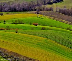 Spring landscape of cultivated land..... Landscape on Teramo's hillside, Italy