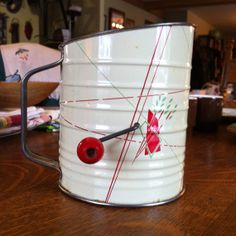 Vintage Tin Flour Sifter midcentury Valentine by SerendipityCircus, $10.00