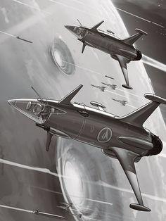 Trading card artworks for the Iron Helmet game 'Neptunes Pride in 2012 Done in a pulp-mid Century era style! Spaceship Art, Spaceship Concept, Classic Sci Fi, Geek Gear, Retro Futuristic, Space Crafts, Sci Fi Fantasy, Retro Art, Sci Fi Art