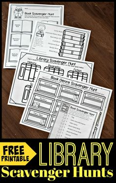 FREE Printable Library Scavenger Hunts - help kids learn about and explore their library with these free printable worksheets. Lean about book genre, authors, elements of the library, and the dewey decimal system. Perfect for kindergarten, first grad Library Games, Reading Library, Library Activities, Kids Library, Free Library, Library Ideas, Library Inspiration, Local Library, Reading Workshop