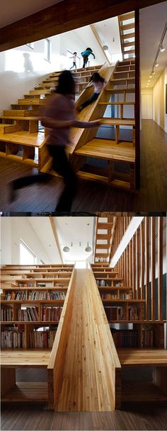 In a library, stairs with slide