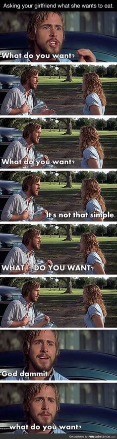 Asking a girl what she wants to eat