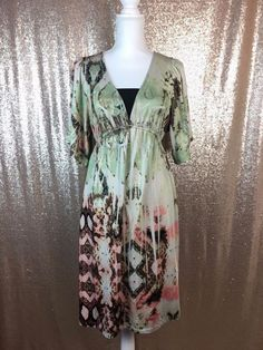 Motherhood Maternity Dress Brown Pink Green Patterned Medium  | eBay