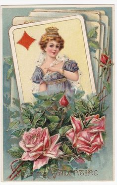 Queen of Diamonds Playing Cards to My Valentine Embossed Postcard | eBay